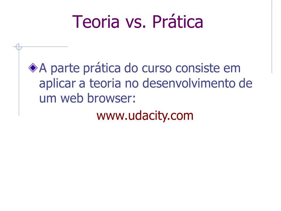 9 Teoria vs. Prática. A parte prática do curso consiste em aplicar a teoria no desenvolvimento de um web browser: