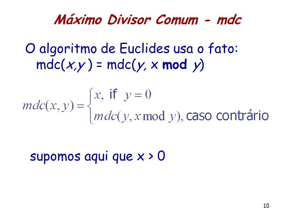 Máximo Divisor Comum - mdc