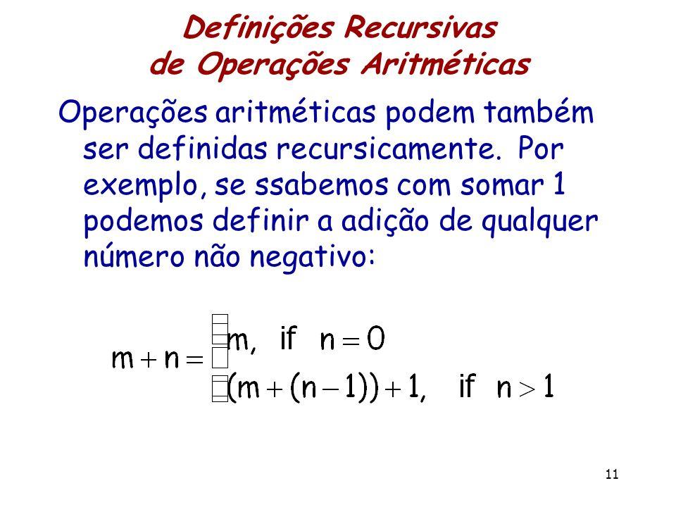 Definições Recursivas de Operações Aritméticas