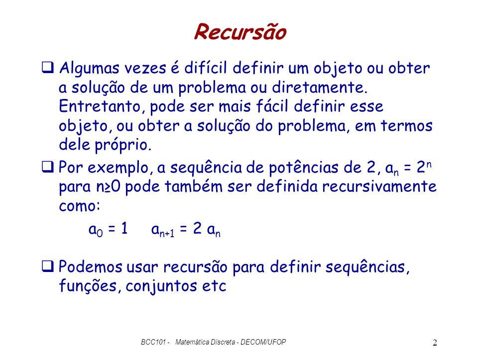 BCC101 - Matemática Discreta - DECOM/UFOP
