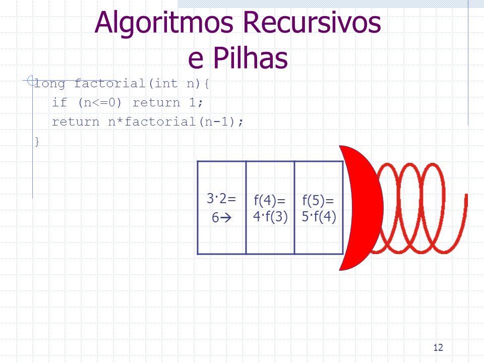 Algoritmos Recursivos e Pilhas