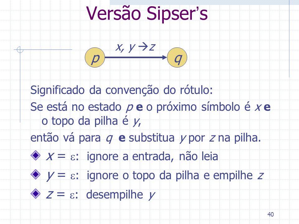 Versão Sipser's p q x = e: ignore a entrada, não leia