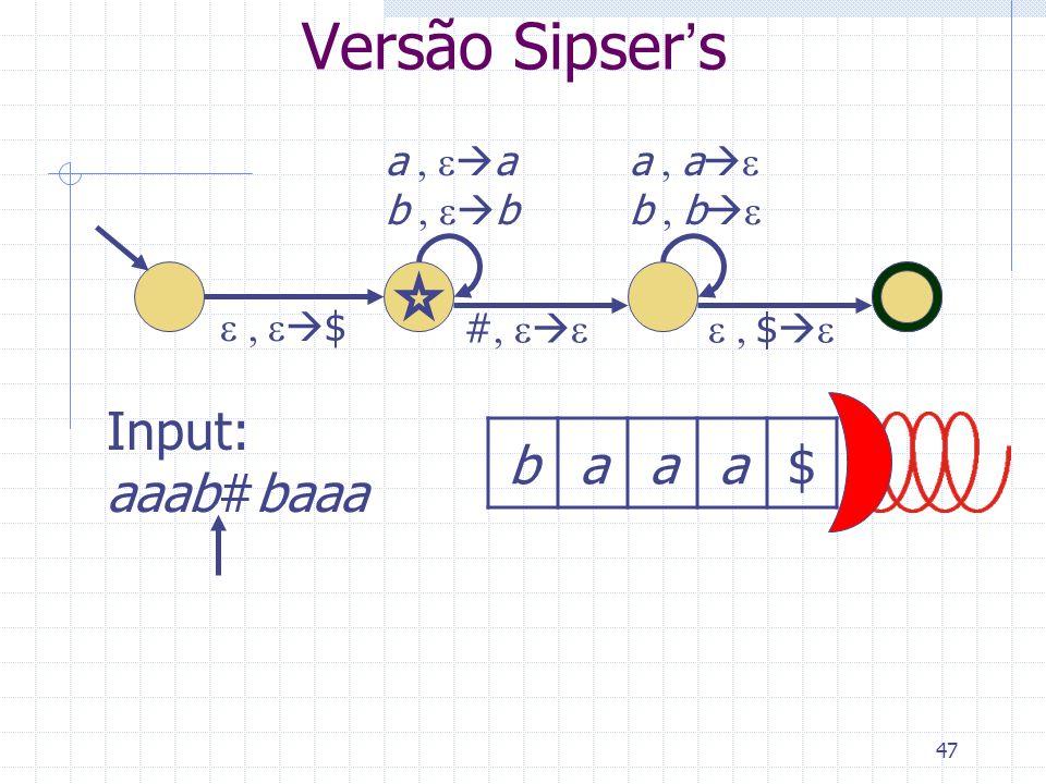 Versão Sipser's Input: aaab#baaa b a $ a , ea b , eb a , ae b , be