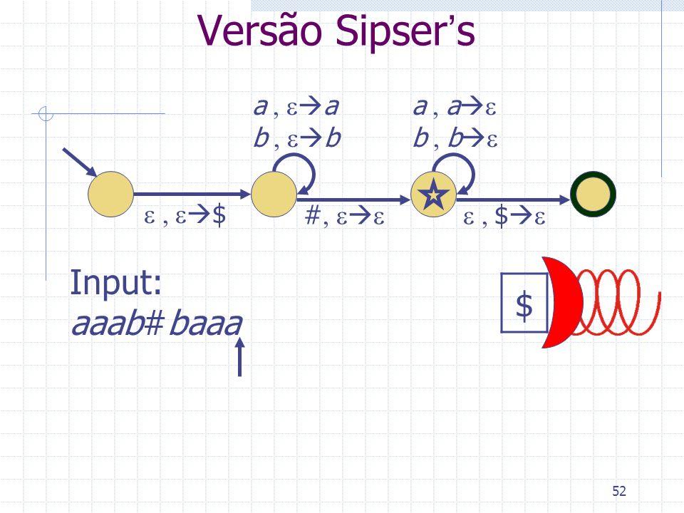 Versão Sipser's $ Input: aaab#baaa a , ea b , eb a , ae b , be
