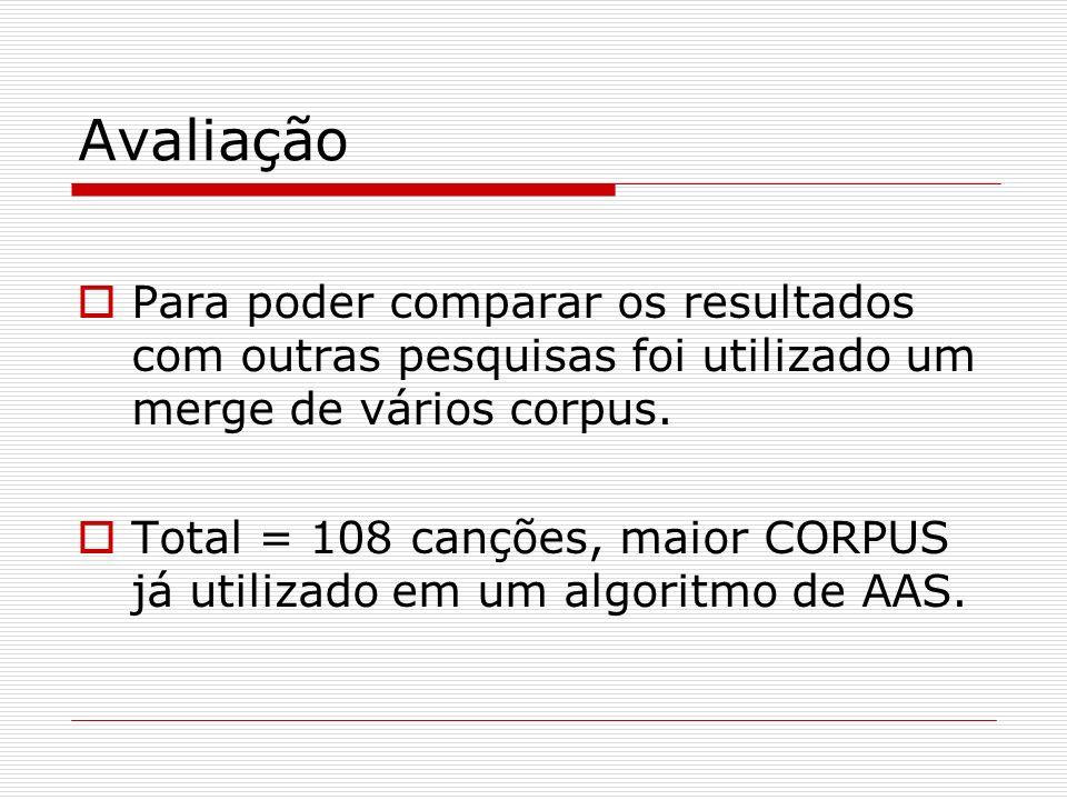 Avaliação Para poder comparar os resultados com outras pesquisas foi utilizado um merge de vários corpus.
