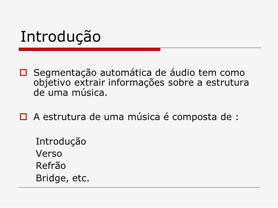 Introdução Segmentação automática de áudio tem como objetivo extrair informações sobre a estrutura de uma música.