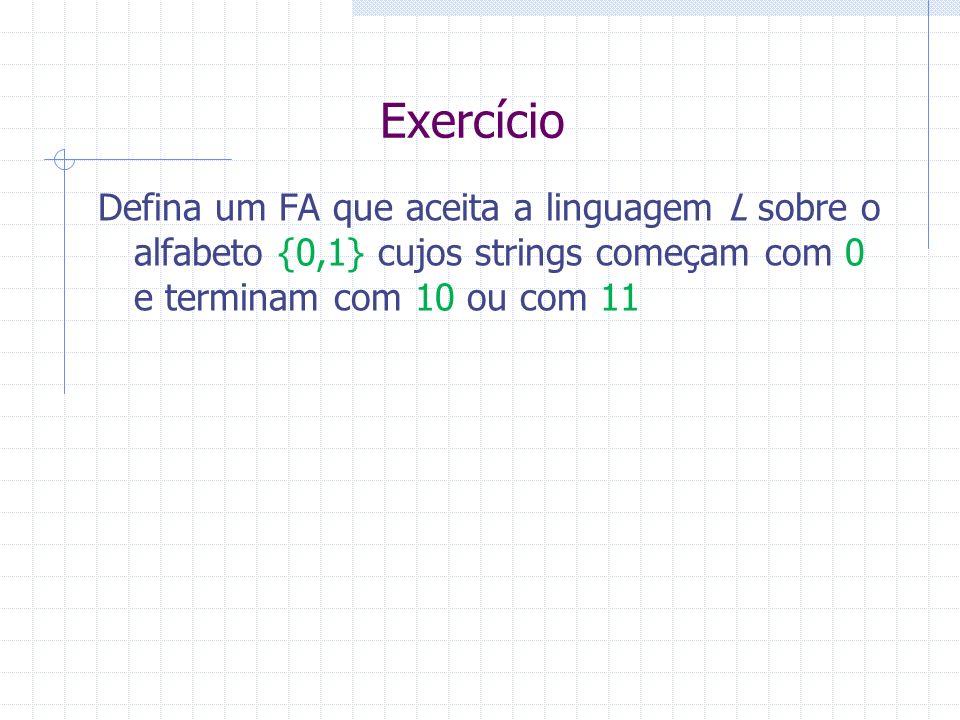 ExercícioDefina um FA que aceita a linguagem L sobre o alfabeto {0,1} cujos strings começam com 0 e terminam com 10 ou com 11.