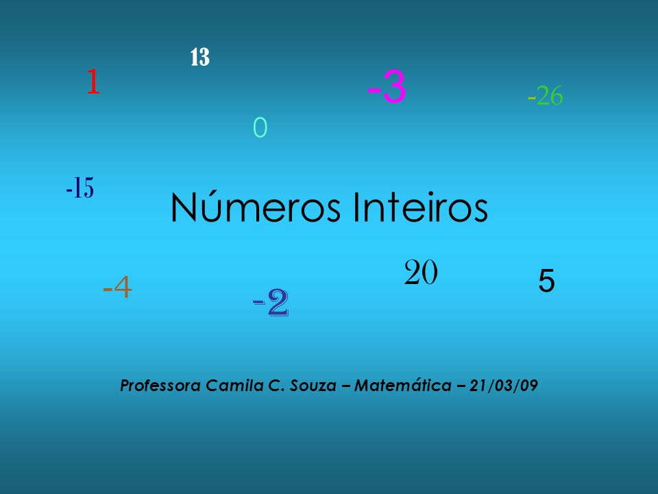 Professora Camila C. Souza – Matemática – 21/03/09