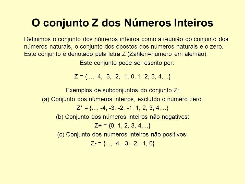 O conjunto Z dos Números Inteiros