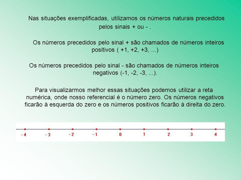 Nas situações exemplificadas, utilizamos os números naturais precedidos pelos sinais + ou - .