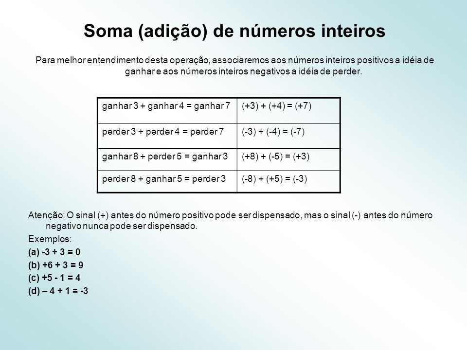 Soma (adição) de números inteiros