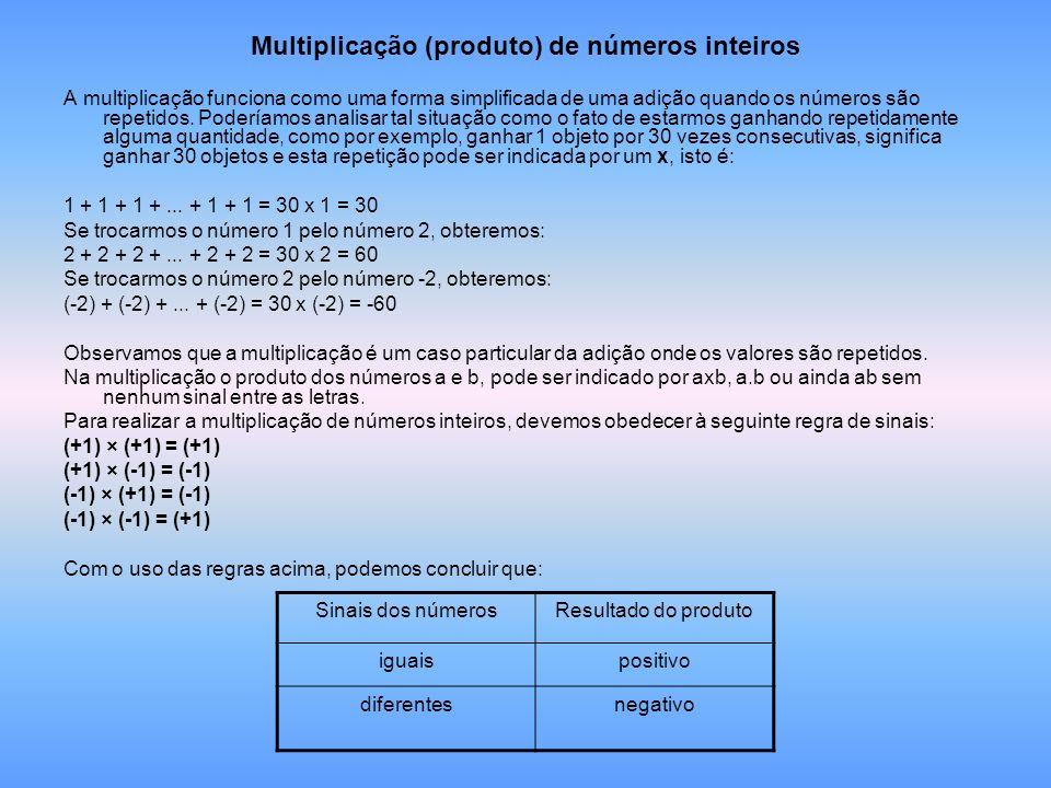 Multiplicação (produto) de números inteiros