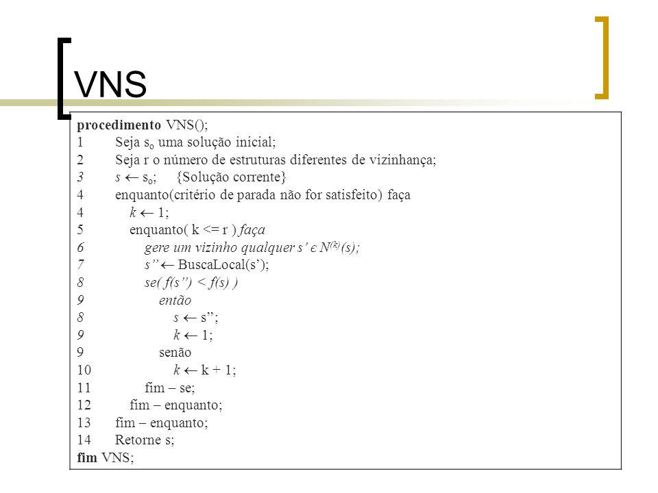 VNS procedimento VNS(); Seja so uma solução inicial;