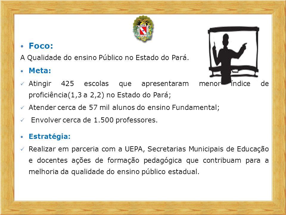 Foco: Meta: A Qualidade do ensino Público no Estado do Pará.
