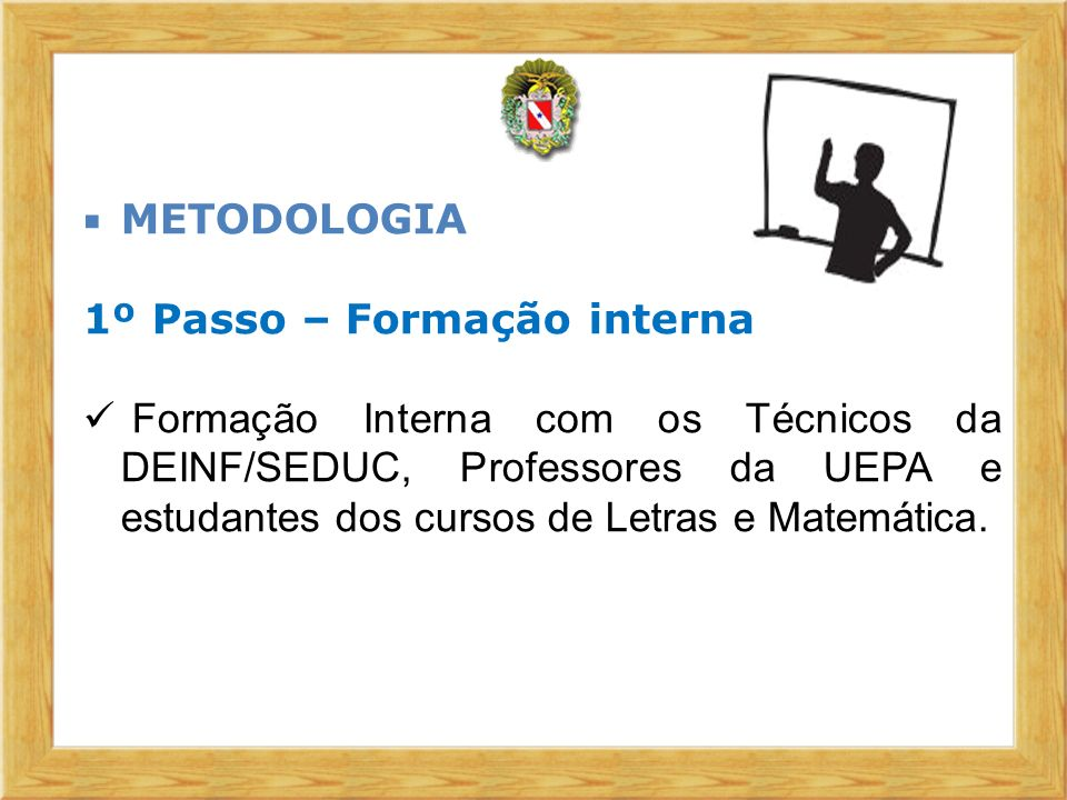 METODOLOGIA 1º Passo – Formação interna.