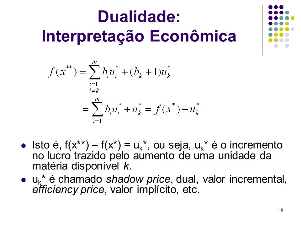 Dualidade: Interpretação Econômica