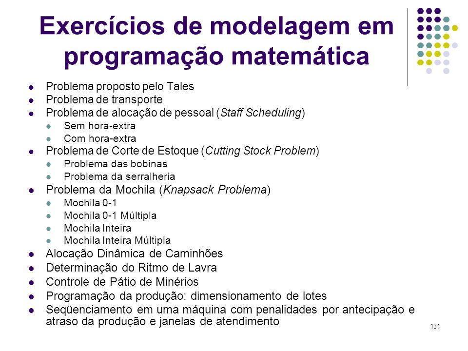 Exercícios de modelagem em programação matemática