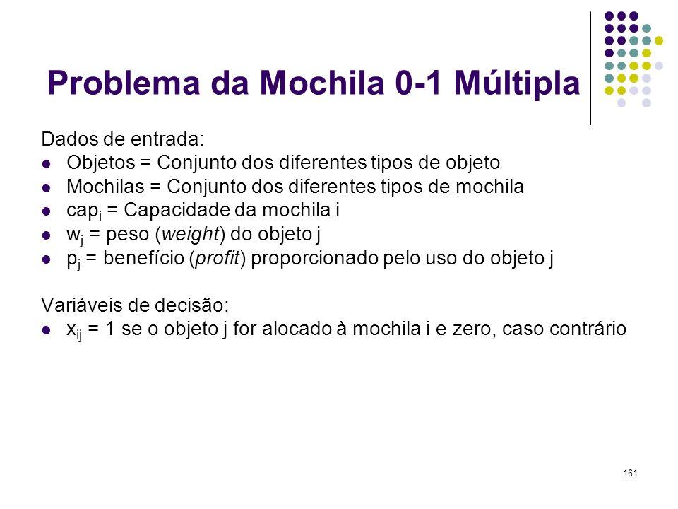 Problema da Mochila 0-1 Múltipla