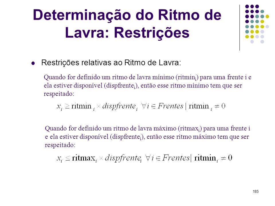 Determinação do Ritmo de Lavra: Restrições