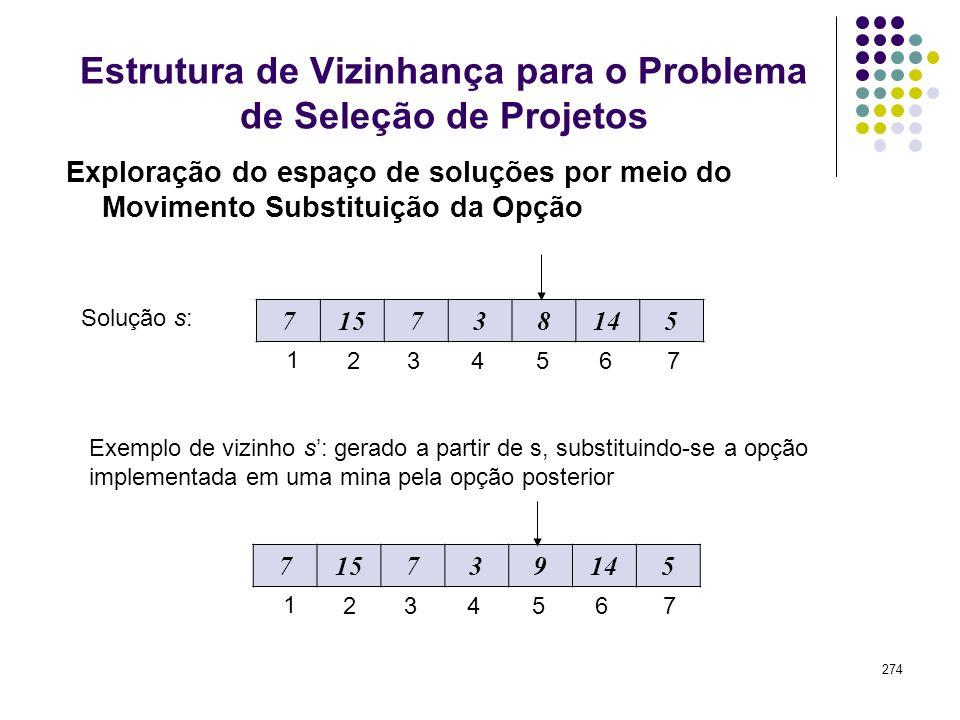 Estrutura de Vizinhança para o Problema de Seleção de Projetos