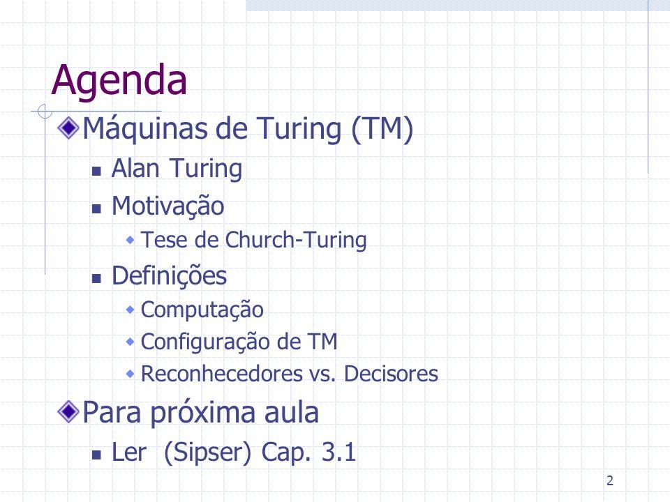 Agenda Máquinas de Turing (TM) Para próxima aula Alan Turing Motivação