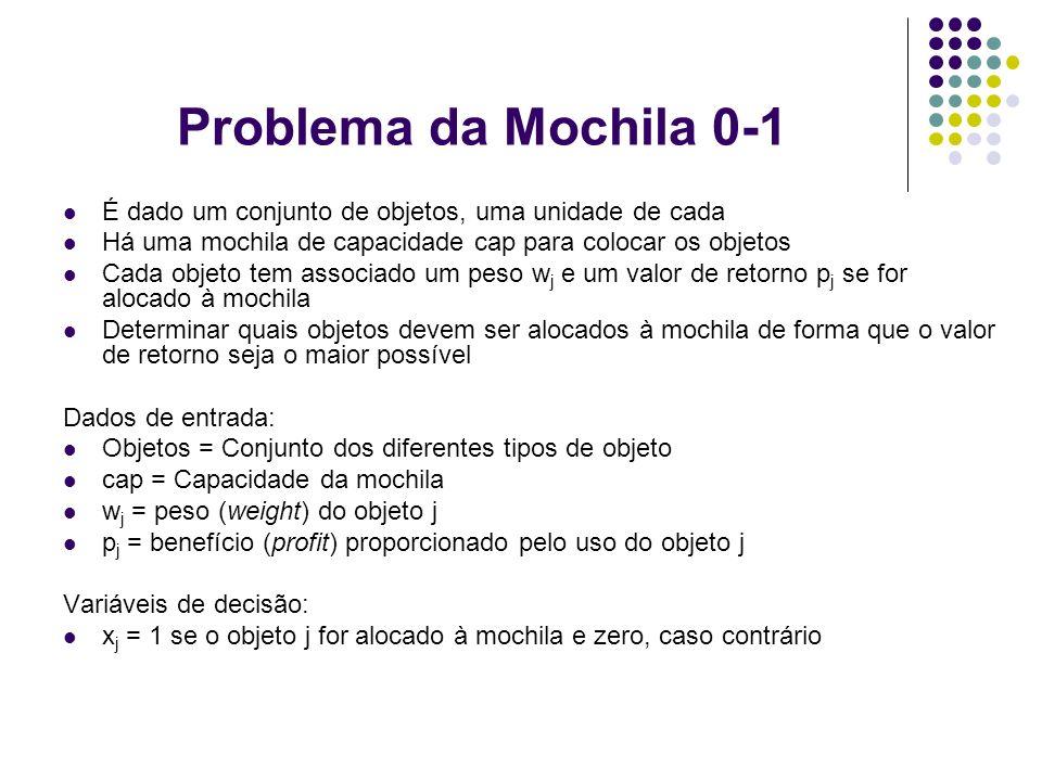 Problema da Mochila 0-1 É dado um conjunto de objetos, uma unidade de cada. Há uma mochila de capacidade cap para colocar os objetos.
