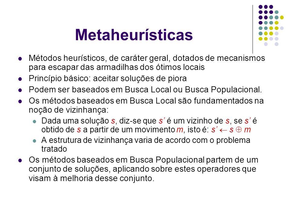 Metaheurísticas Métodos heurísticos, de caráter geral, dotados de mecanismos para escapar das armadilhas dos ótimos locais.