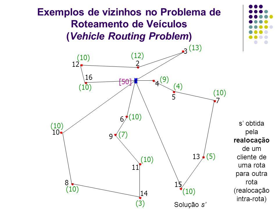Exemplos de vizinhos no Problema de Roteamento de Veículos (Vehicle Routing Problem)