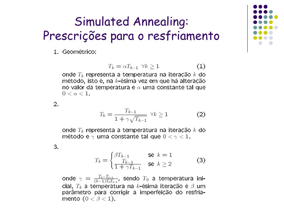 Simulated Annealing: Prescrições para o resfriamento