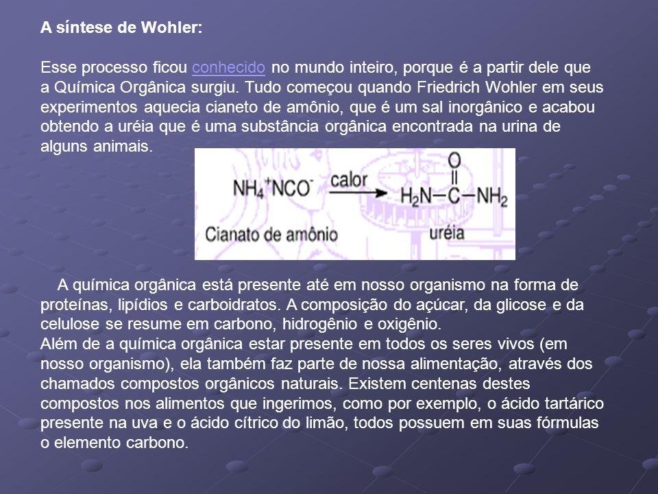 A síntese de Wohler: Esse processo ficou conhecido no mundo inteiro, porque é a partir dele que a Química Orgânica surgiu. Tudo começou quando Friedrich Wohler em seus experimentos aquecia cianeto de amônio, que é um sal inorgânico e acabou obtendo a uréia que é uma substância orgânica encontrada na urina de alguns animais.