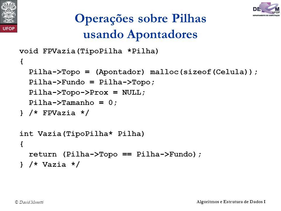 Operações sobre Pilhas usando Apontadores