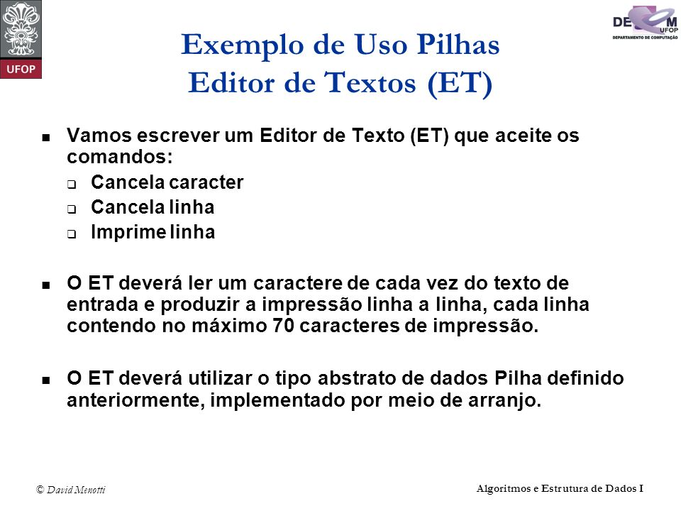 Exemplo de Uso Pilhas Editor de Textos (ET)