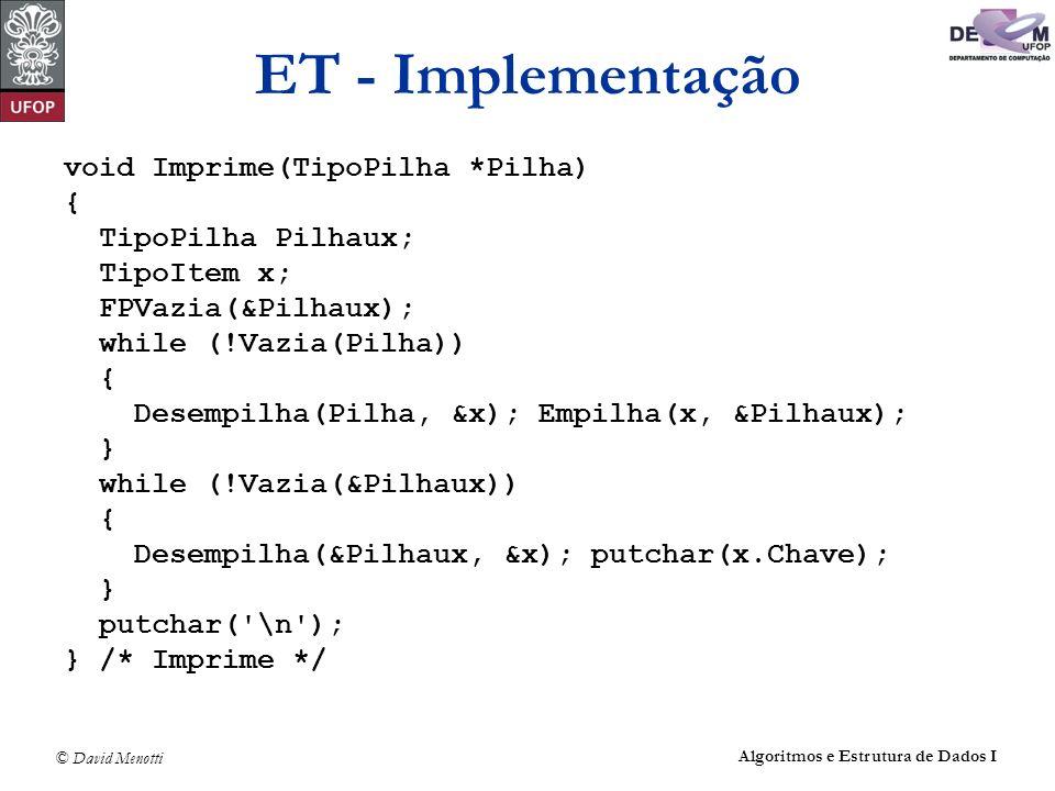 ET - Implementação void Imprime(TipoPilha *Pilha) { TipoPilha Pilhaux;