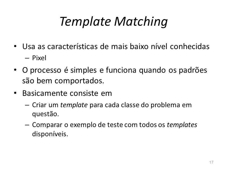 Template Matching Usa as características de mais baixo nível conhecidas. Pixel.