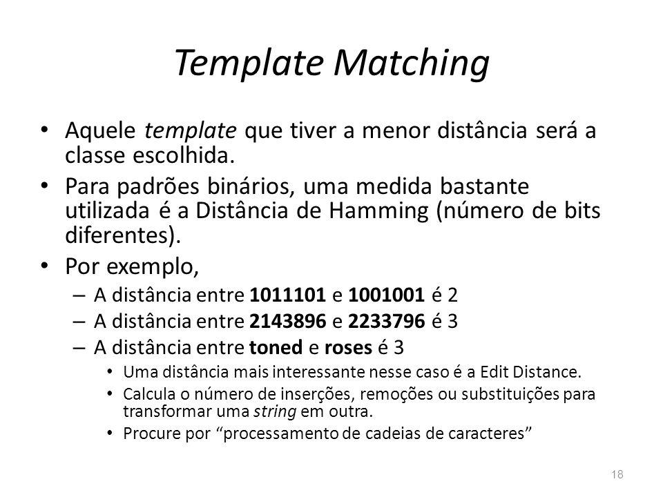 Template Matching Aquele template que tiver a menor distância será a classe escolhida.