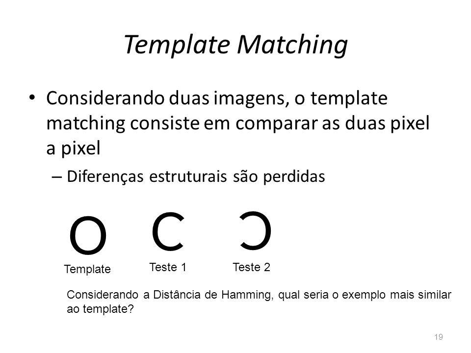 Template Matching Considerando duas imagens, o template matching consiste em comparar as duas pixel a pixel.