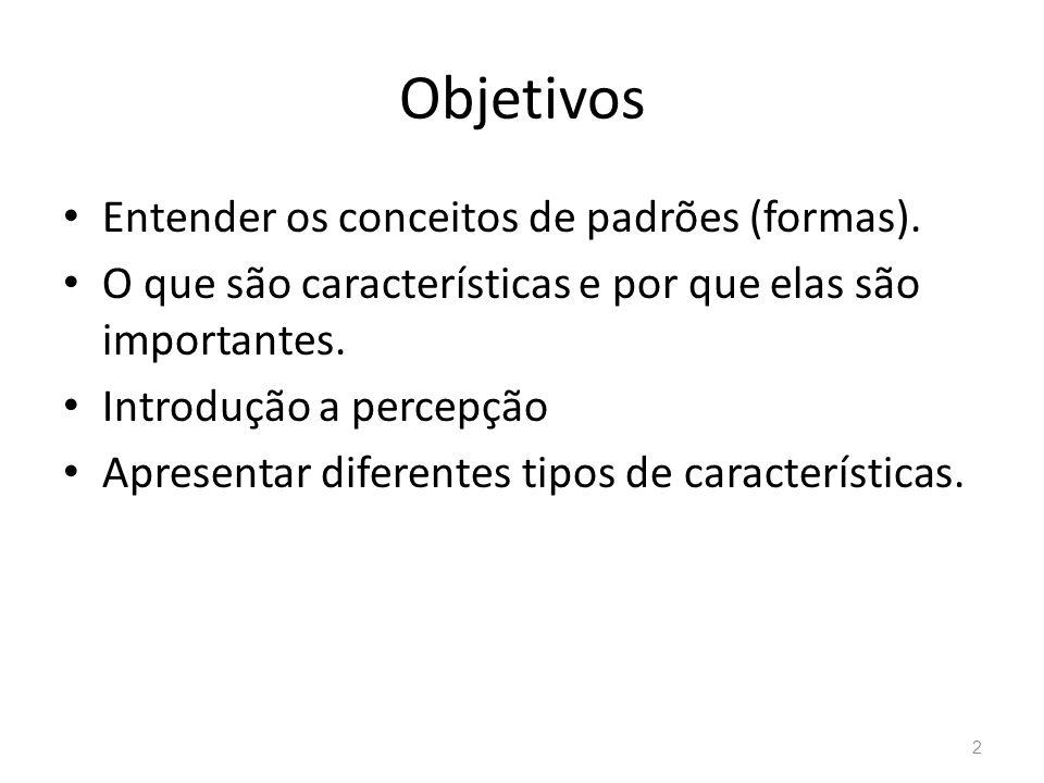 Objetivos Entender os conceitos de padrões (formas).
