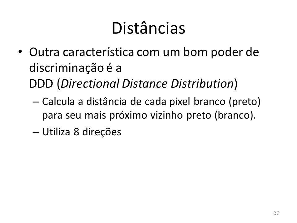 Distâncias Outra característica com um bom poder de discriminação é a DDD (Directional Distance Distribution)