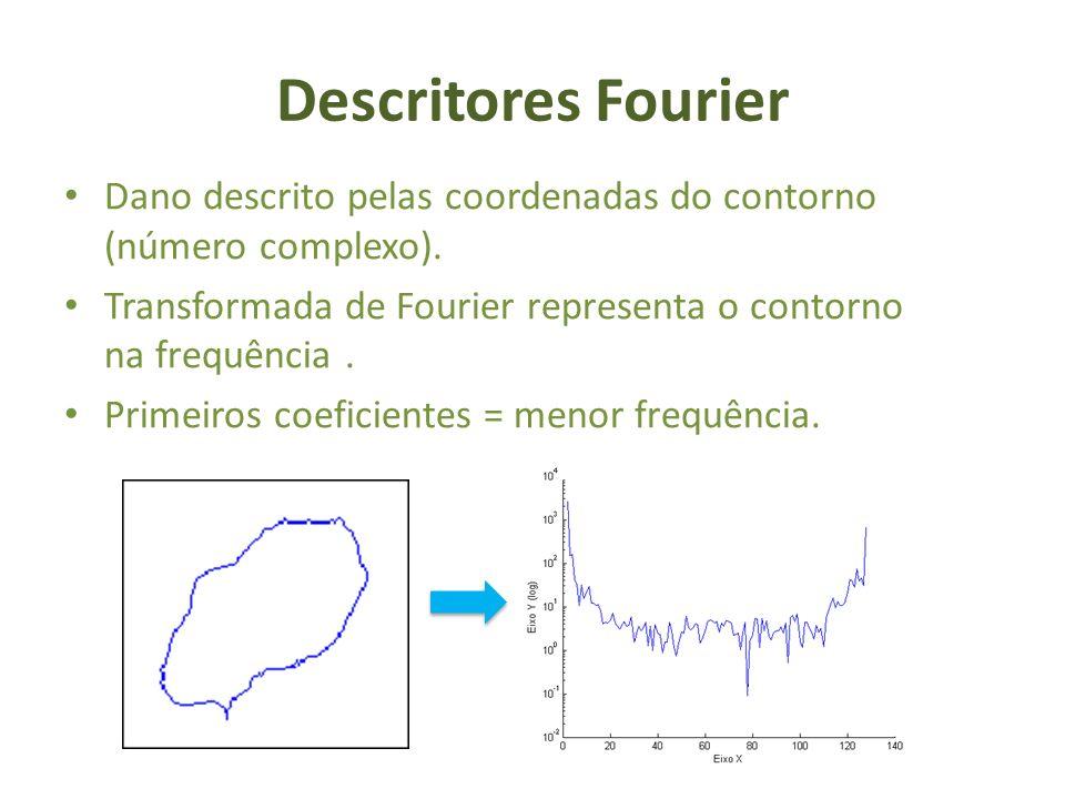 Descritores Fourier Dano descrito pelas coordenadas do contorno (número complexo). Transformada de Fourier representa o contorno na frequência .