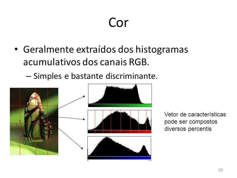 Cor Geralmente extraídos dos histogramas acumulativos dos canais RGB.