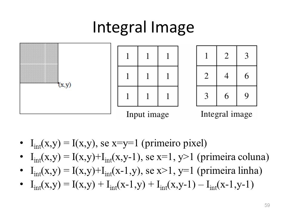 Integral Image Iint(x,y) = I(x,y), se x=y=1 (primeiro pixel)