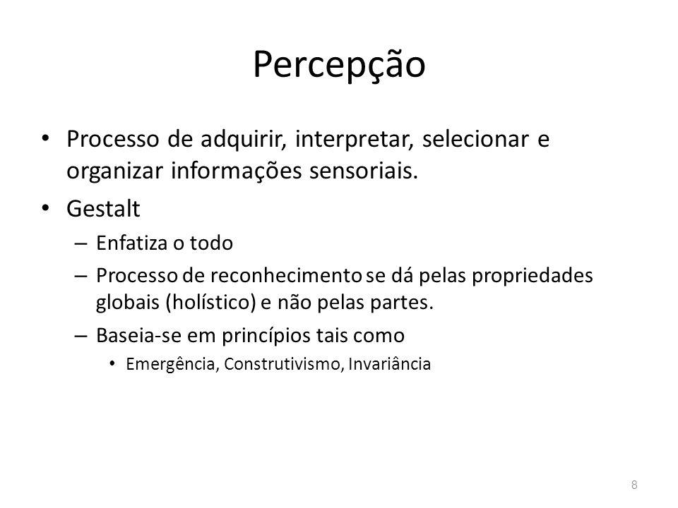 Percepção Processo de adquirir, interpretar, selecionar e organizar informações sensoriais. Gestalt.