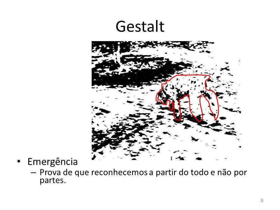 Gestalt Emergência Prova de que reconhecemos a partir do todo e não por partes.