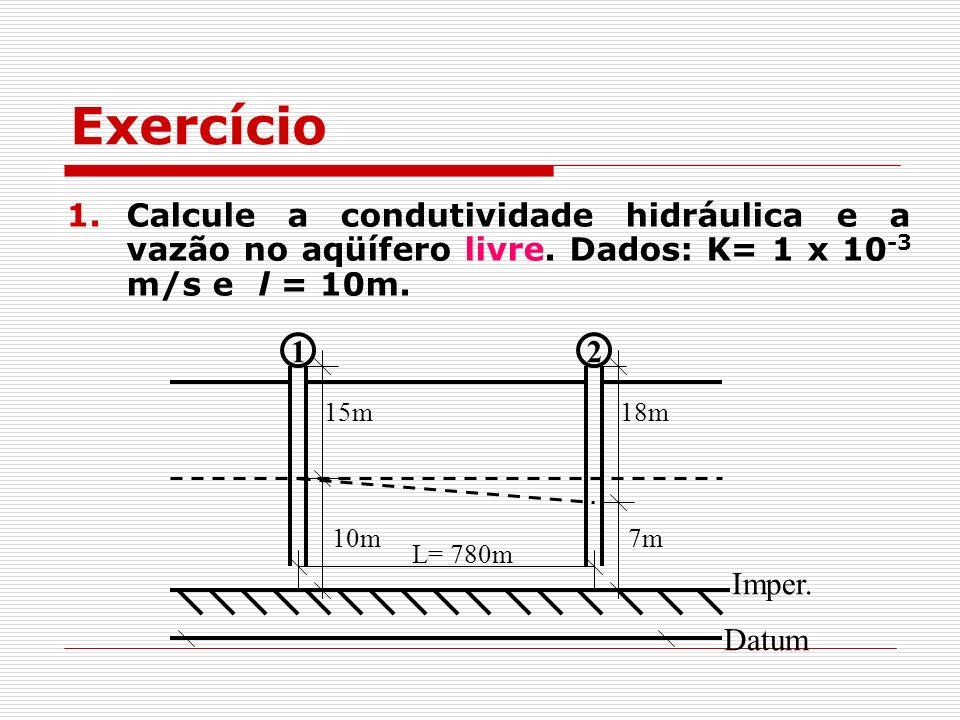 Exercício Calcule a condutividade hidráulica e a vazão no aqüífero livre. Dados: K= 1 x 10-3 m/s e l = 10m.