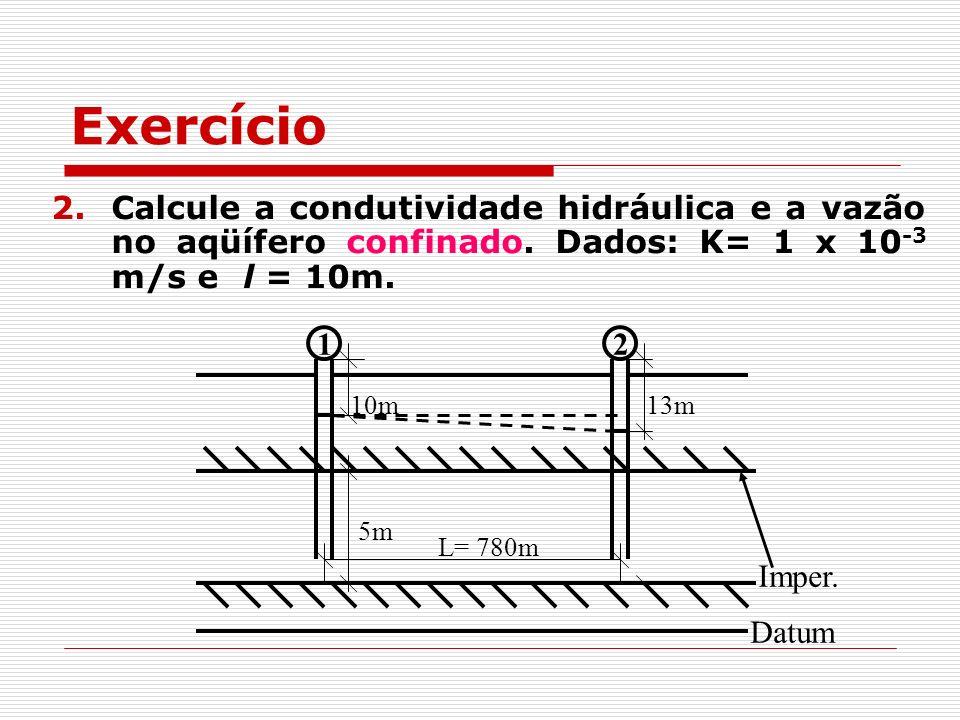 Exercício Calcule a condutividade hidráulica e a vazão no aqüífero confinado. Dados: K= 1 x 10-3 m/s e l = 10m.