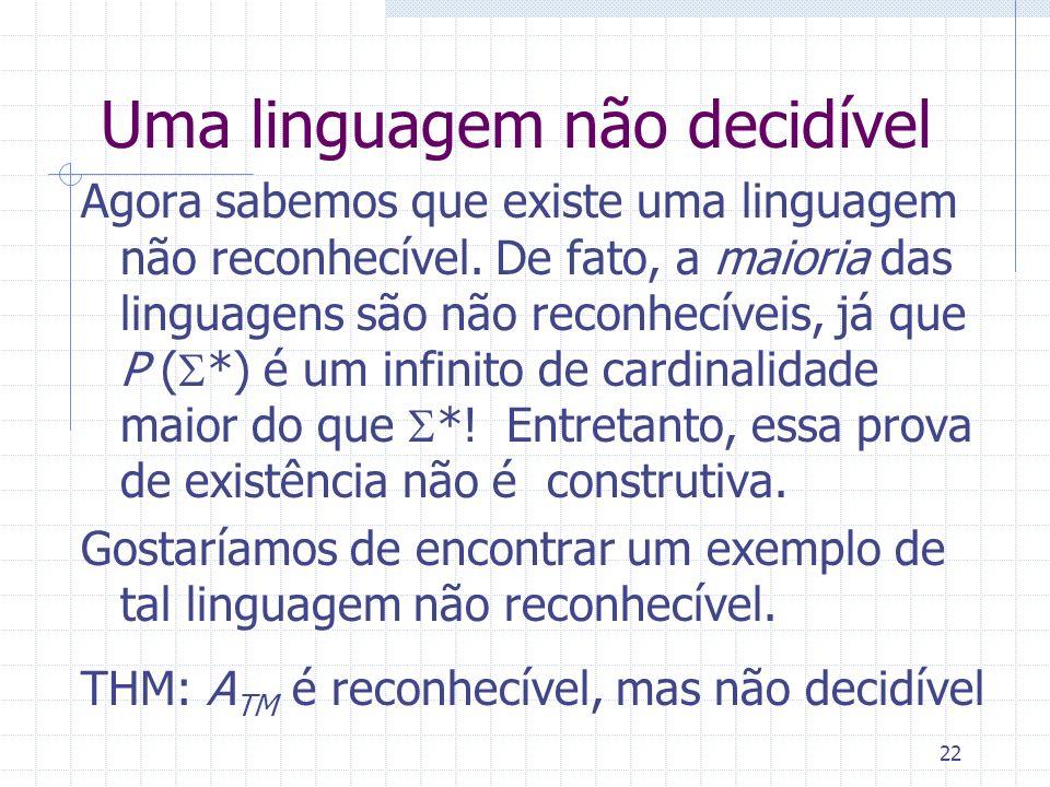 Uma linguagem não decidível