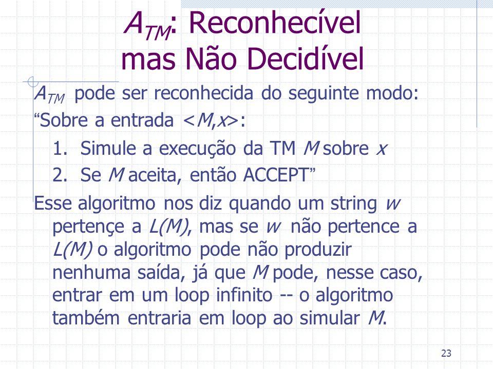 ATM: Reconhecível mas Não Decidível
