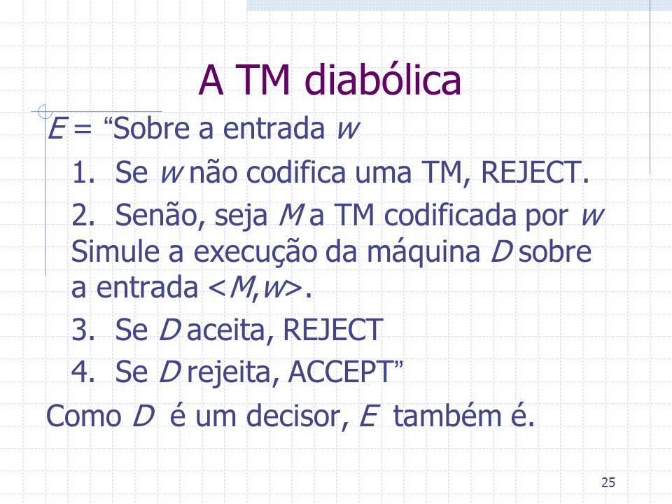 A TM diabólica E = Sobre a entrada w