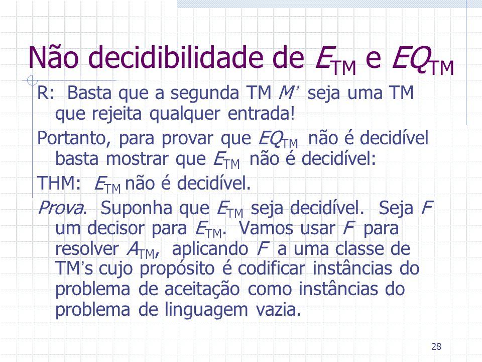 Não decidibilidade de ETM e EQTM
