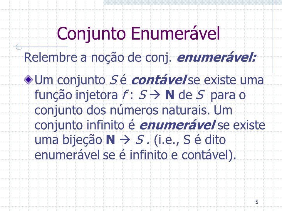 Conjunto Enumerável Relembre a noção de conj. enumerável: